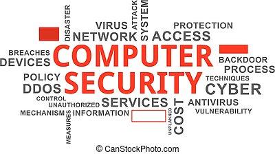 単語, セキュリティー, コンピュータ, -, 雲