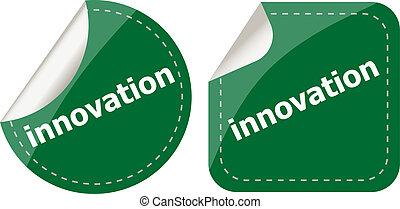 単語, セット, ボタン, ラベル, 革新, ステッカー