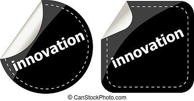 単語, セット, ボタン, ラベル, 黒, 革新, ステッカー