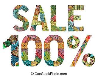 単語, セール, 100 パーセント, ., ベクトル, 装飾用である, zentangle, オブジェクト