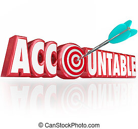 単語, ターゲット, accountable, 責任, 矢, 手紙, 3d