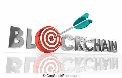 単語, ターゲット, blockchain, イラスト, 矢, 技術, 3d