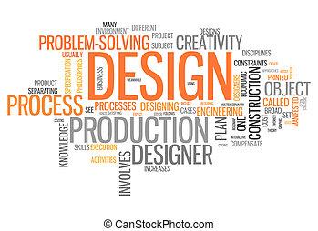 単語, デザイン, 雲