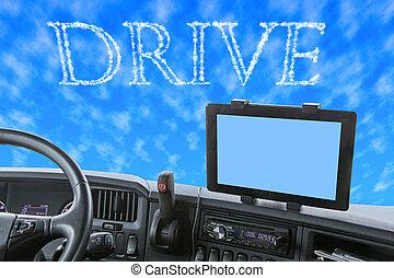 単語, ドライブしなさい, ダッシュボード, スカイブルー, トラック