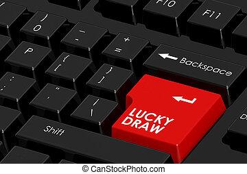 単語, ドロー, 幸運, キーボードコンピュータ, 黒