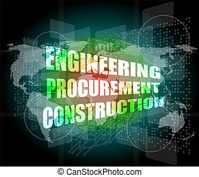単語, ビジネス, スクリーン, procurement, 工学, 建設, デジタル, 感触