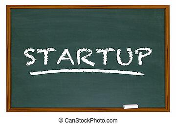 単語, ビジネス, 会社, 始動, イラスト, チョーク板, 新しい, 3d