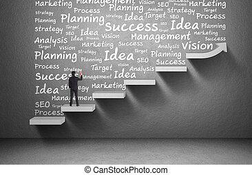単語, ビジネス, 壁, グラフ, 書きなさい, 上昇, ビジネスマン