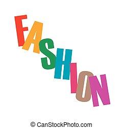 単語, ファッション, 手紙, カラフルである
