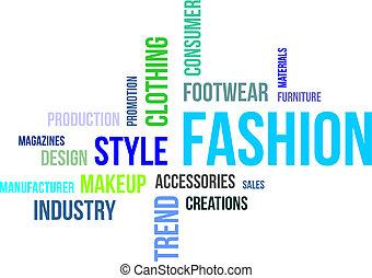 単語, ファッション, -, 雲