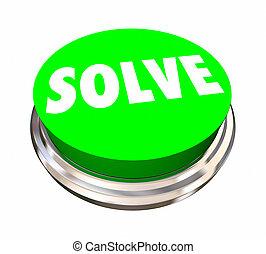 単語, ボタン, 解決, イラスト, 解決しなさい, 問題, 苦境, 3d