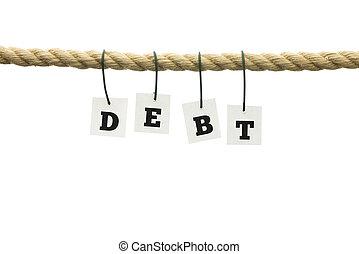 単語, -, ロープ, 掛かること, 手紙, 負債