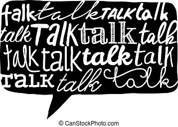 単語, 上に, 手ざわり, スピーチ泡, 話