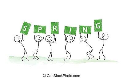 単語, 人々, セット, 保有物, 春