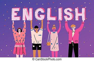 単語, 保有物, 人々, language., 多様, english., 学びなさい, 手紙