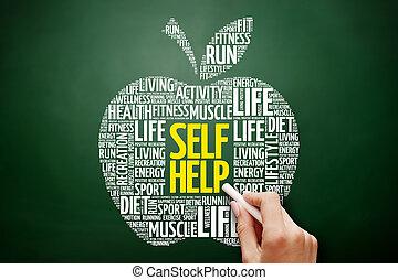 単語, 助け, コラージュ, 自己, 雲, アップル