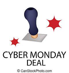 単語, 取引, 月曜日, 切手, cyber, ゴム