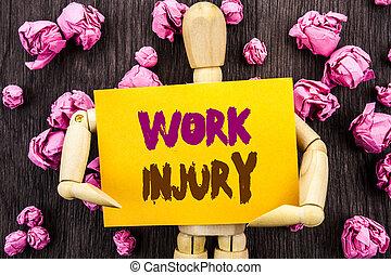 単語, 執筆, テキスト, 仕事, injury., 概念, 写真, ひどく, 体, 事故, ∥ように∥, 緊急事態, 保護, 書かれた, 上に, 付せん, 保有物, によって, 彫刻, 上に, ∥, 木製である, バックグラウンド。