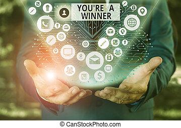 単語, 場所, テキスト, 第1, 執筆, 勝利, ∥あるいは∥, あなた, ビジネス 概念, competition., チャンピオン, レ, winner.