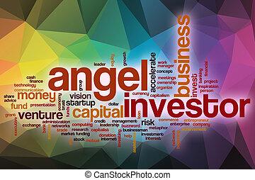 単語, 天使, 抽象的, 背景, 投資家, 雲