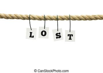 単語, 失われた, 上に, -, ロープ, 掛かること, 白