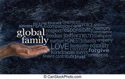 単語, 家族, キャンペーン, 世界的である, 旗, 雲
