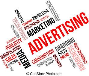 単語, -, 広告, 雲