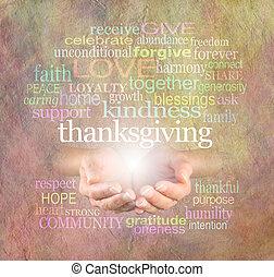 単語, 感謝祭, 雲