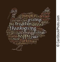 単語, 感謝祭, 雲, 日