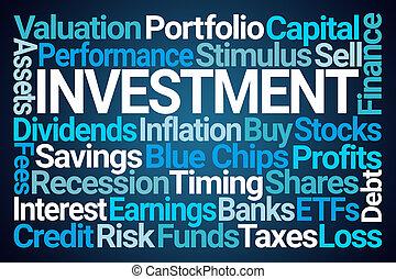 単語, 投資, 雲