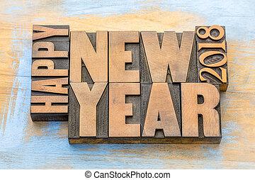 単語, 抽象的, 木, 2018, 年, 新しい, タイプ, 幸せ