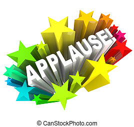 単語, 拍手, 大喝采, 感謝, 星, 承認
