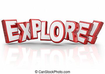 単語, 探検しなさい, 検査, 冒険, 不思議である, 点検, 3d