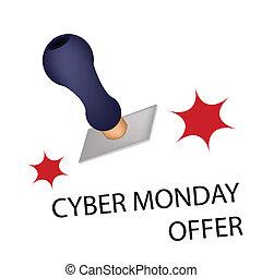単語, 月曜日, 提供, 切手, cyber, ゴム