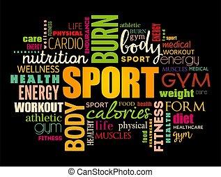 単語, 概念, 健康, スポーツ, フィットネス, 雲