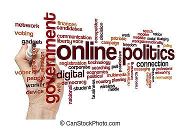 単語, 概念, 政治, オンラインで, 雲