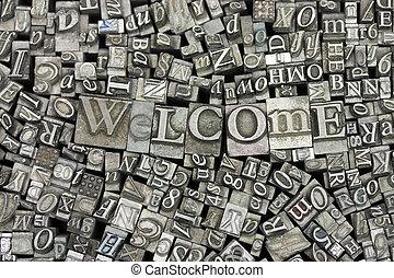 単語, 歓迎, の上, typeset, 手紙, 終わり