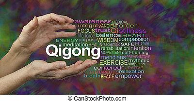 単語, 治癒, 雲, qigong