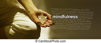 単語, 瞑想, 旗, 雲, mindfulness