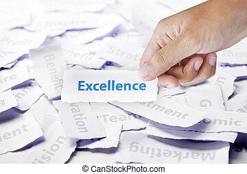 単語, 素晴らしさ, 中に, 手, ビジネス 概念