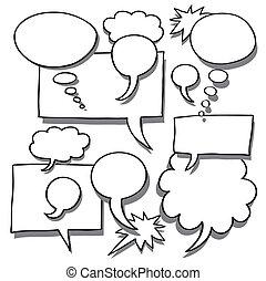 単語, 考え, 泡, 漫画