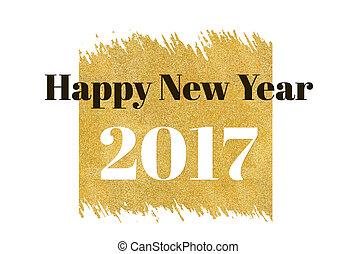 単語, 背景, 休日, 金, 祝福, 長方形, 年, 新しい,  2017, きらめき, 白, カード, 幸せ