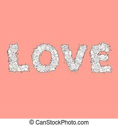 単語, 背景, 愛, 白い花, 赤