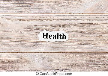 単語, 背景, 木製である, paper., 健康, 言葉, concept.