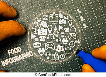 単語, 表しなさい, 使われた, ビジュアル, テキスト, 執筆, infographic., information., 食物, 図, イメージ, 概念, そのような物, ビジネス