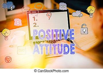 単語, 見る, 楽天的である, 概念, 執筆, attitude., 生活, テキスト, ビジネス, ある, よい, ポジティブ, things.