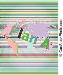 ∥, 単語, 計画, a, 上に, デジタル, スクリーン, ビジネス 概念, ベクトル, イラスト