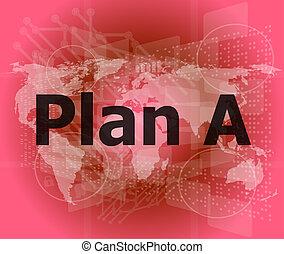 ∥, 単語, 計画, a, 上に, デジタル, スクリーン, ビジネス 概念