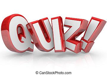 単語, 試験, 小テスト, テスト, 査定, 赤, 3d