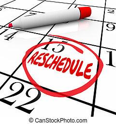 単語, 遅れ, 日付, reschedule, 一周される, 取り消し, appointme, カレンダー, 日